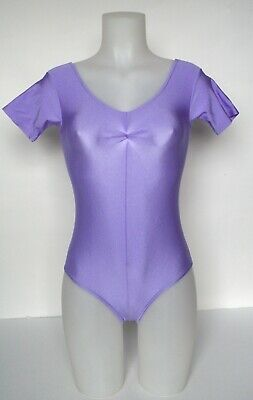 Vintage Leotard - 1980s Lilac lycra - short sleeves - Roch Valley - UK 6