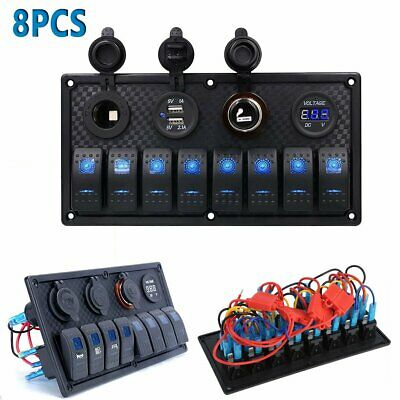 8PACK Waterproof 8-Gang Switch Panel USB Charger Adapter Rocker LED Voltmeter ST