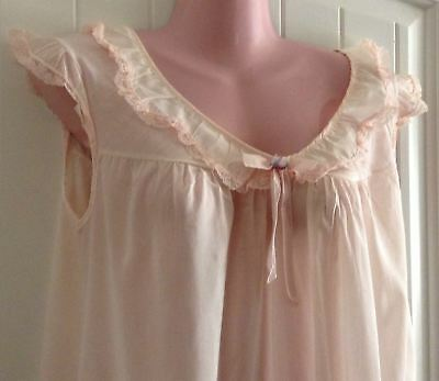 Vtg Summer Cotton Nightgown Pink Lace Ruffle Philmaid 36-38