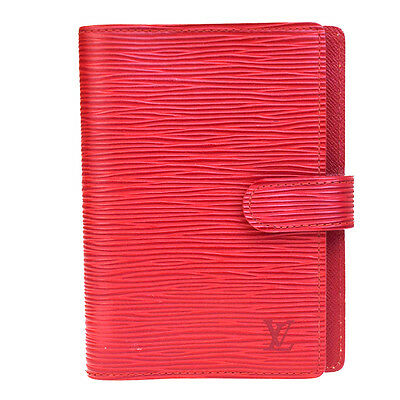 Auth LOUIS VUITTON Agenda PM Notebook Cover Epi Leather Red Spain R20057 07V1546