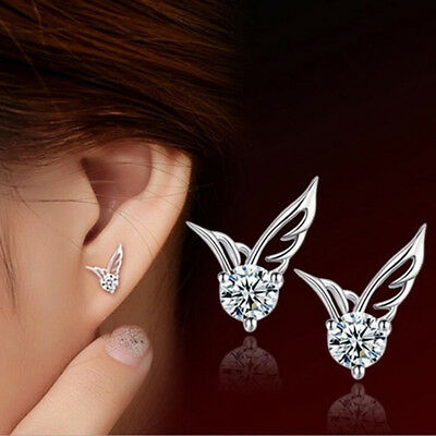 Fashion Women Jewelry Fairy Wings Crystal Cute Ear Stud Earrings Gift LH