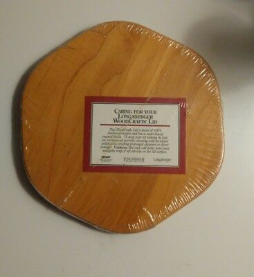 """Longaberger 8"""" Hexagon Woodcraft Replacement Lid NEW for Basket, Canister or Jar"""