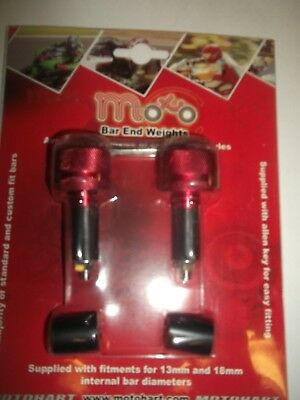 """VIPER Motorcycle  MOTORBIKE Universal 22mm 7/8"""" red Bar End  Weights"""