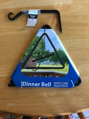 """Patio Life Triangle 9"""" Dinner Bell 100% Steel w/ 7in Forged Hook"""