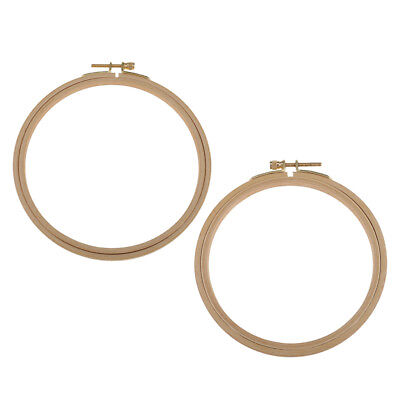 2pcs Wooden Cross Stitch Machine Embroidery Hoop Ring Bamboo Sewing 15/18cm