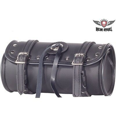 """10"""" PVC Motorcycle Tool Bag With Shiny Studs & Concho"""