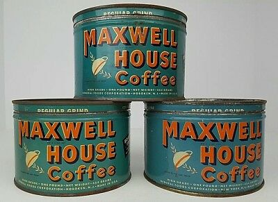 (1) Vintage Maxwell House 1 Lb. Key Wind Coffee Tin Can w/ Lid General Foods USA
