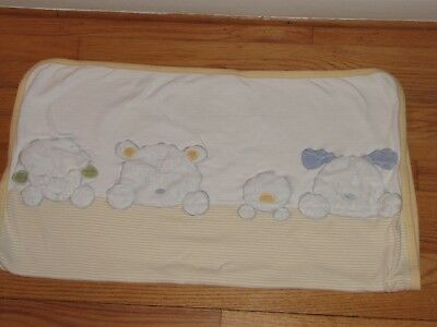 fb5fead20a Carters White   Yellow Stripe Baby Blanket Plush Lamb Bear Duck Dog Lovey  40x30