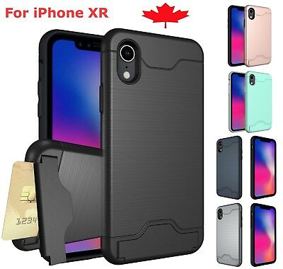 For iPhone XR Case Shockproof Card Slot Kickstand Hard Wallet Phone Cover