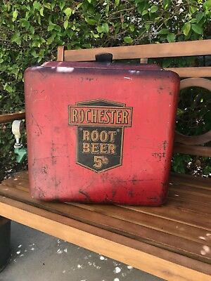 Vintage 1930's Rochester Root Beer Fountain Dispenser (Red Steel)