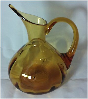 Blenko Amber Optic Art Glass Pitcher Mid Century Vintage 1950's