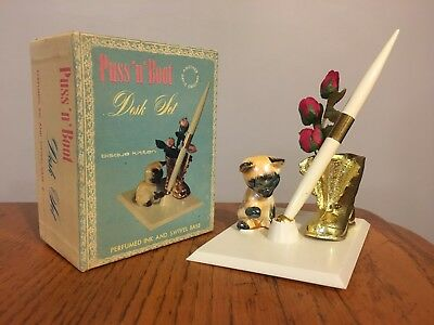 Vtg Mid Century Desk Pen Holder w/ Siamese Cat Kitten Made USA