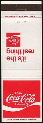 Vintage matchbook cover COCA COLA Its the real thing slogan unstruck n-mint