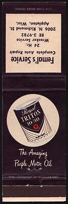 Vintage matchbook cover ROYAL TRITON 76 MOTOR OIL can picture Appleton Wisconsin