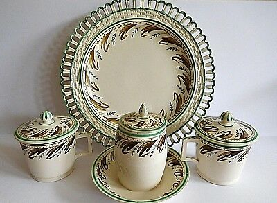 Antique Rorstrand Four Piece Set Including Two Cream Cups Mustard Pot And Plate