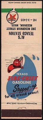 Vintage matchbook cover TEXACO FIRE CHIEF GASOLINE oil Als Station Needham Mass