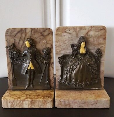Antique Marble Renaissance Style Bookends Man & Woman In Period Clothing