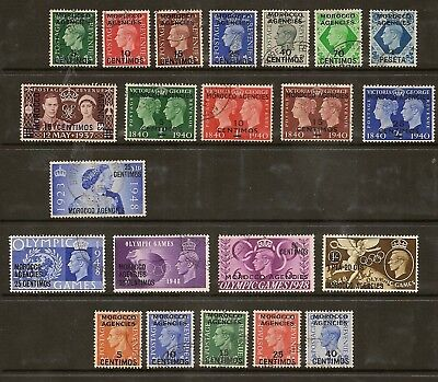 Morocco Agencies 1937-52 Kgvi Spanish Currency Complete Sg164/86 ( No £1 Rsw)