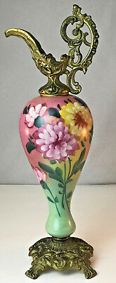 Vintage Antique Victorian Decorative Ewer Urn Hand Painted Green & Pink Flowers