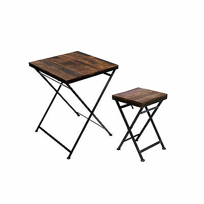 table pliante d 39 appoint tabouret bois fer massif de jardin. Black Bedroom Furniture Sets. Home Design Ideas