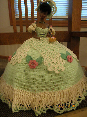 Black Afro American Fashion Doll With Incredible Crocheted Dress,hat,more