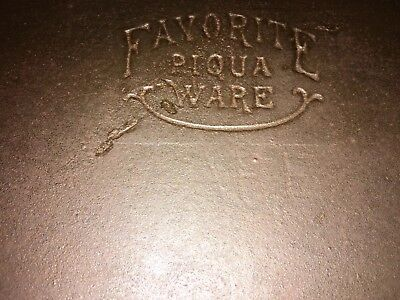 Old Vintage Favorite Piqua Ware #8 Cast Iron Long Griddle W/ Ghost Mark -Cracked