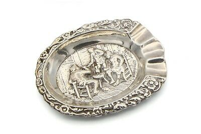 Dutch Tavern Sterling Silver Ashtray, Small European Embossed Silver Ashtray