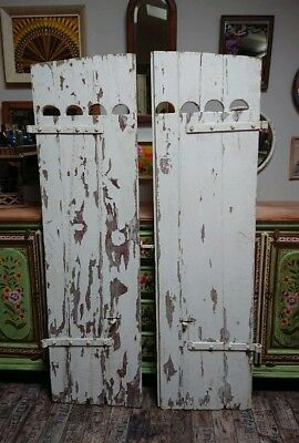 Vintage Wooden French Window Shutters châteaux antique original wood distressed