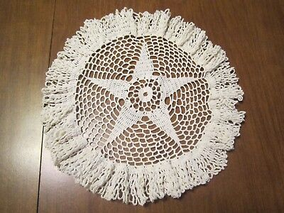 """10-1/2"""" Round White Vintage Handmade Lace Crochet Star Doily Doilies (Lot 1)"""
