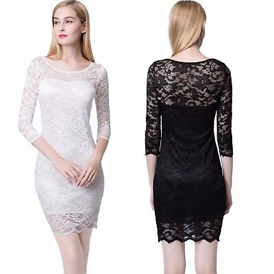 Women Flower Lace Dress Summer O-Neck Sexy Short Evening Party Fashion Clothes