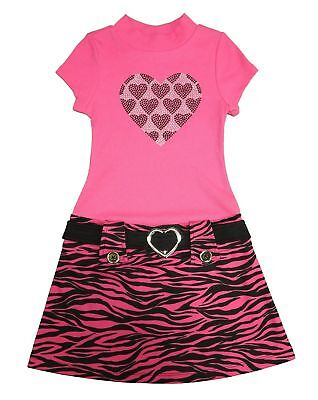 Pink & Violet Girls Short Sleeve Dress, Fuchsia Animal (Large)
