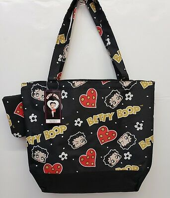 Betty boop black  tote bag attached coin purse