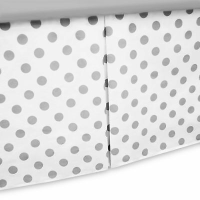 TL Care Cotton Percale Tailored Crib Bed Skirt with Pleat in White/Grey Dot