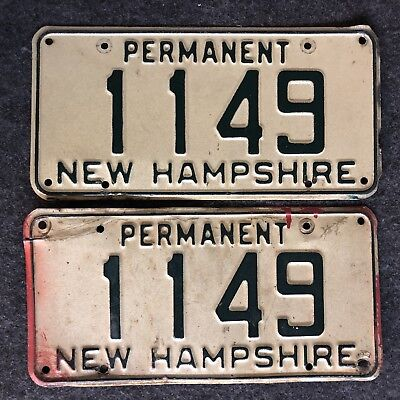 New Hampshire Permanent License Plate Pair Nice Tags 1149 Fire Truck Low Number