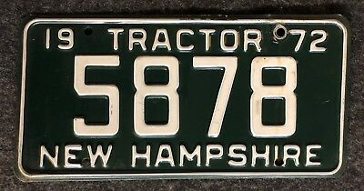 1972 New Hampshire Tractor License Plate Nice Tag 5878 Low Number 72