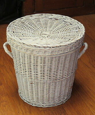"""White wicker shabby chic covered laundry or storage basket 15"""" tall, vintage"""
