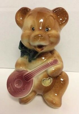Vintage ROYAL COPLEY TEDDY BEAR with MANDOLIN PLANTER With Tag Baby's Nursery