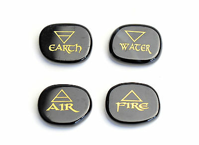 Black Agate Engraved Reiki 4 Elemental of Earth Water Air Fire Palm Stones