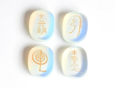 1 INCHES Artificial Opal Engraved Healing Balance Usui Reiki Symbols Palm Stones