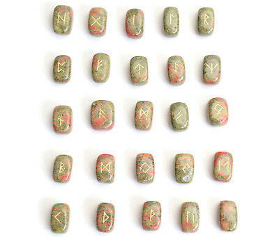 """0.6 x 0.4"""" Small Size Unakite Rune Stones Engraved Pagan Lettering Wiccan Set"""