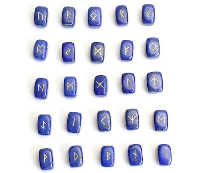 """0.6 x 0.4"""" Small Lapis Lazuli Rune Stones Engraved Pagan Lettering Wiccan Set"""