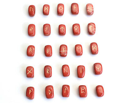 "0.6 x 0.4"" Small Size Red Jasper Rune Stones Engraved Pagan Lettering Wiccan Set"