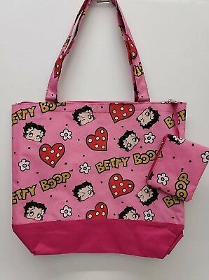 Betty boop Pink-Hearts Canva Tote/Bag, attached coin purse