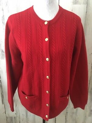 VINTAGE TALBOTS L Red Wool Cable Knit Gold Buttons Pockets Cardigan Sweater EUC