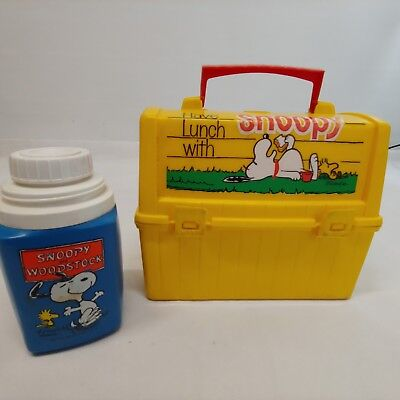 """Vintage Snoopy Plastic Lunch Box Woodstock Blue Thermos """"Come to School"""""""