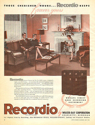 1946 vintage AD RECORDIO Radio Phonograph and RECORDER  010416