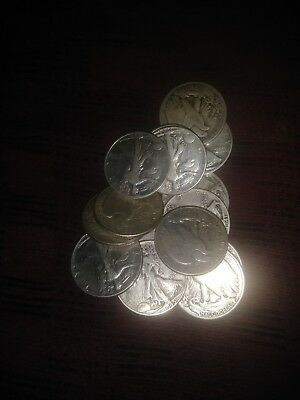Walking liberty Half Dollars , 90% Silver Coin Lot, Circulated,