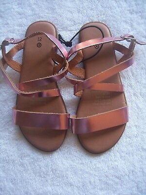 BNWT Girl's Pink Metallic Strappy Sandals Size 10 & 12