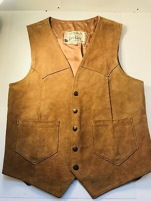 Natural Leather by Joo Kay Mens Brown Suede Leather Vest Rockabilly Sz 36 Vtg