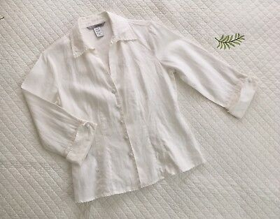 Two Star Dog, White Linen, 3/4 Sleeve, Button Down, Size XS